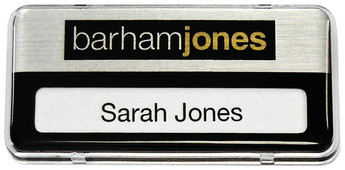 Reusable plastic name badges - Clear border and brushed silver / black background | www.namebadgesinternational.co.uk