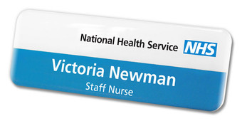 Standard plastic name badges - No border and white / blue background | www.namebadgesinternational.co.uk