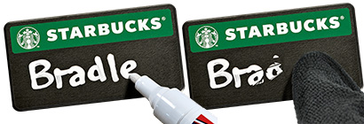 Write and erase names with our Liquid Chalk Pen & Microfibre Cloth Set